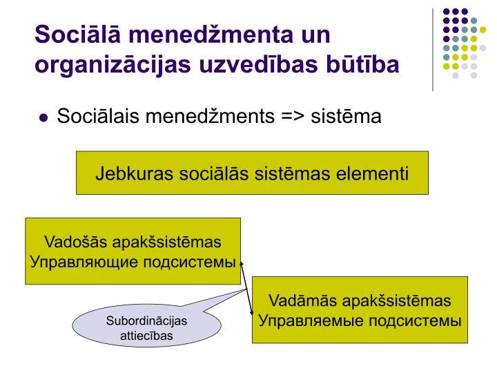 Sociālā menedžmenta un organizācijas uzvedības būtība