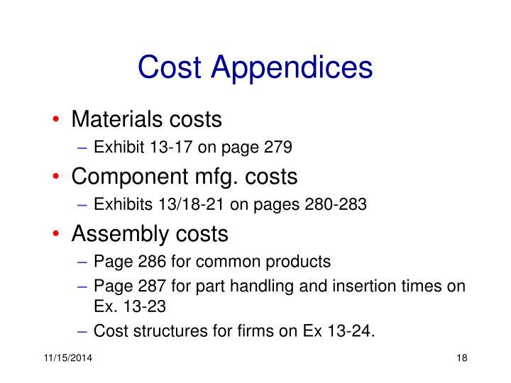 Cost Appendices