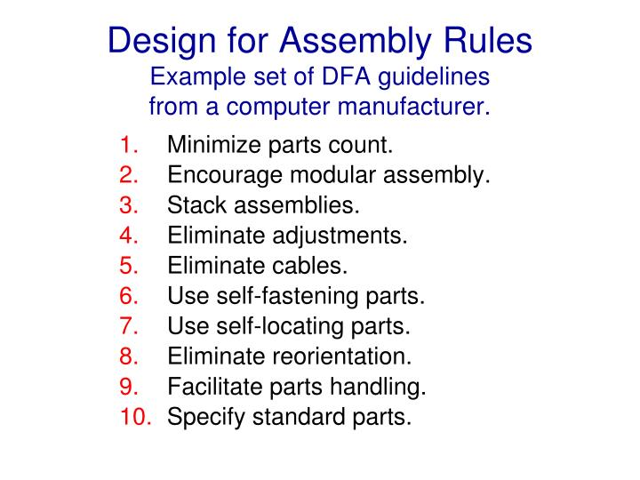 Design for Assembly Rules