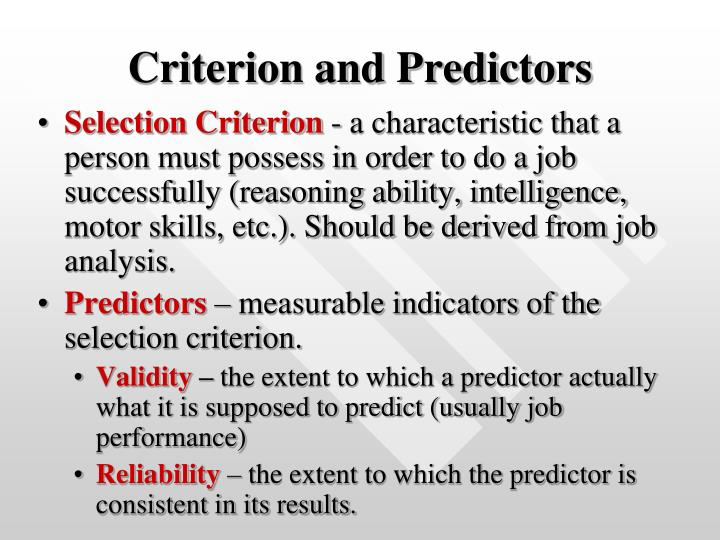 Criterion and Predictors