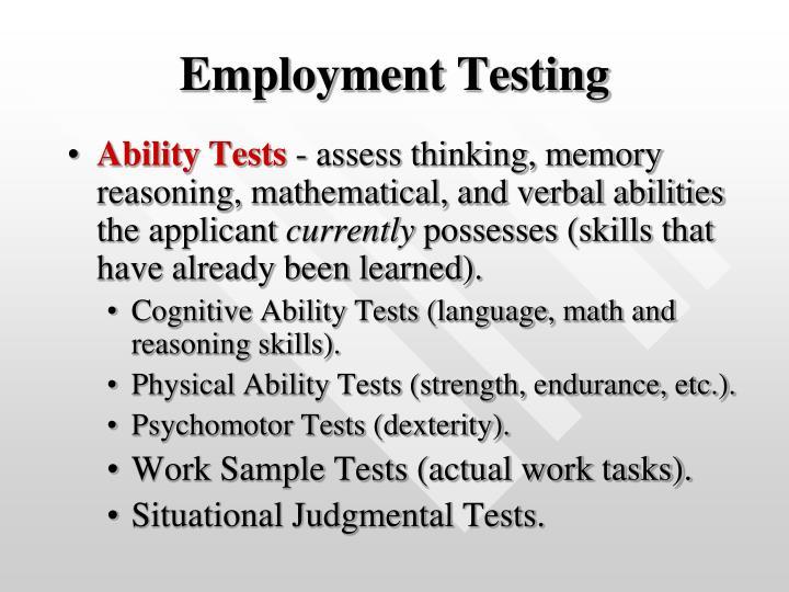 Employment Testing