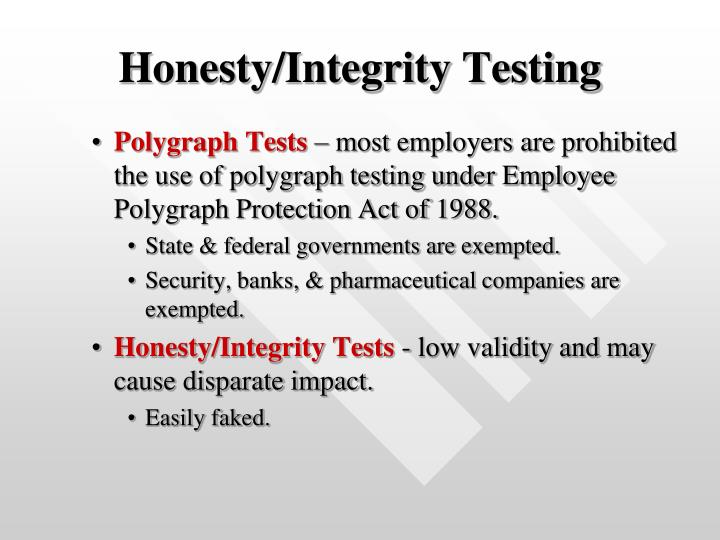Honesty/Integrity Testing