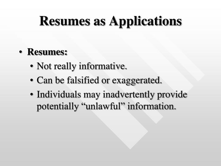 Resumes as Applications