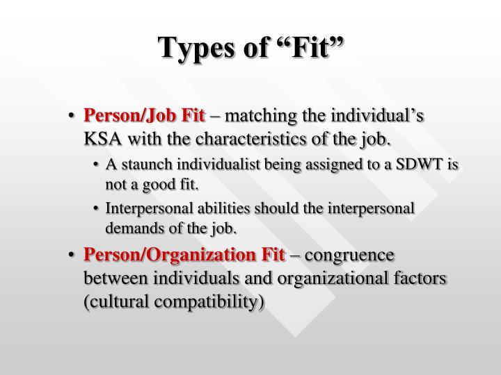 "Types of ""Fit"""