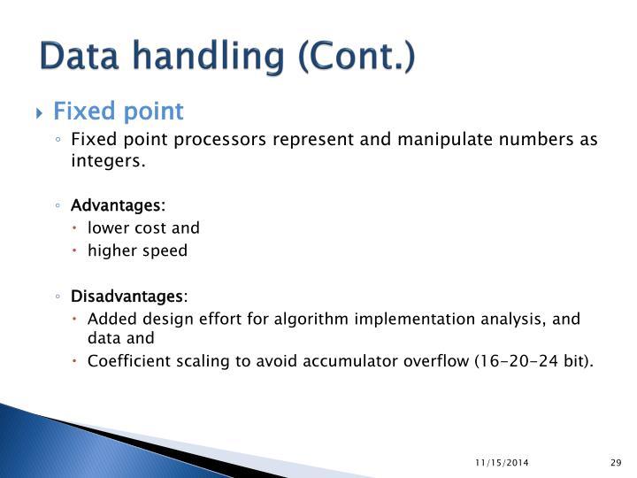 Data handling (Cont.)