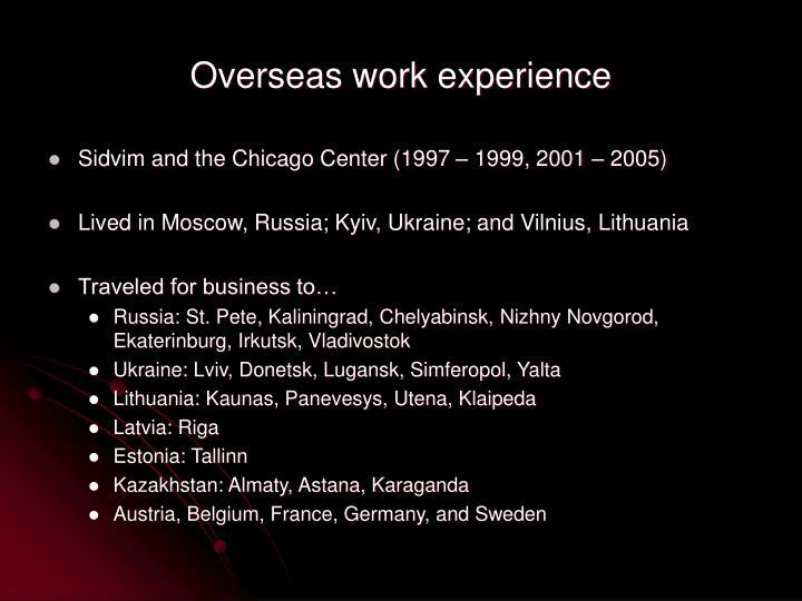 Overseas work experience