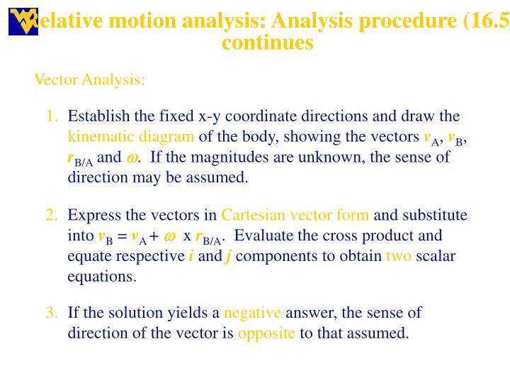 Relative motion analysis: Analysis procedure (16.5) continues