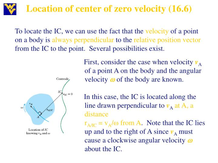 Location of center of zero velocity (16.6)
