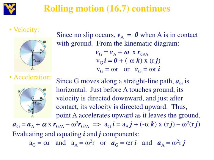 Rolling motion (16.7) continues