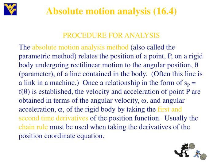 Absolute motion analysis (16.4)