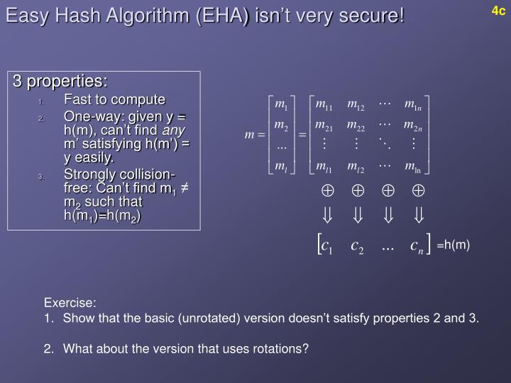 Easy Hash Algorithm (EHA) isn't very secure!