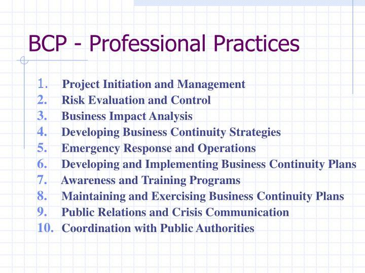 BCP - Professional Practices