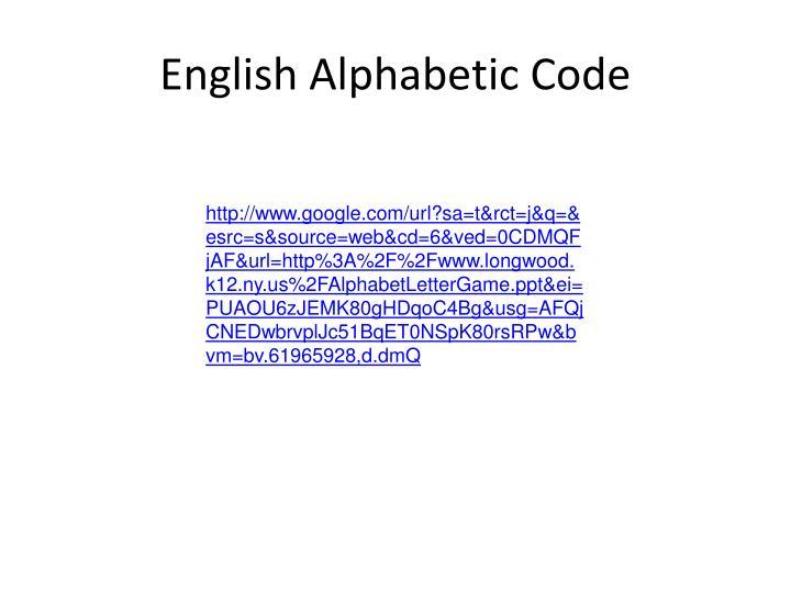 English Alphabetic Code
