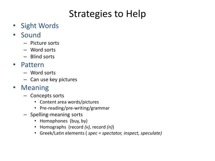 Strategies to Help