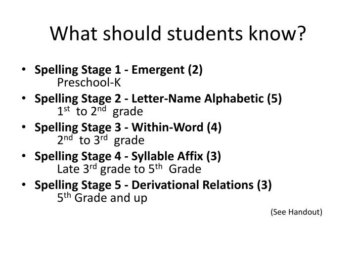 What should students know?