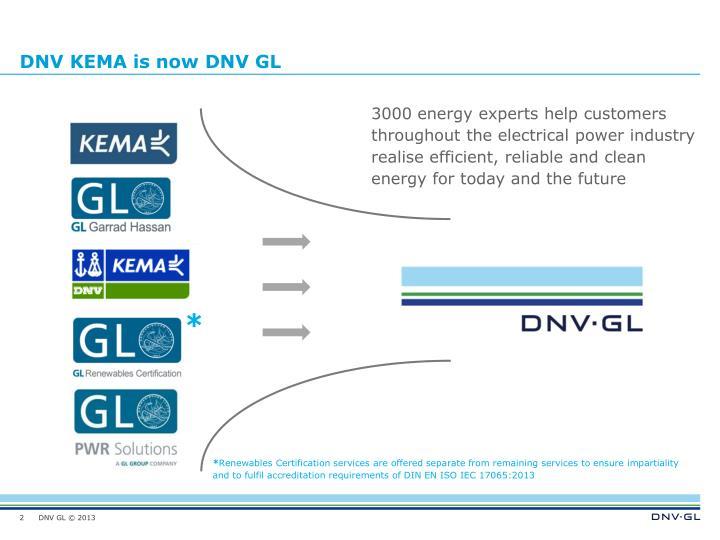 DNV KEMA is now DNV GL