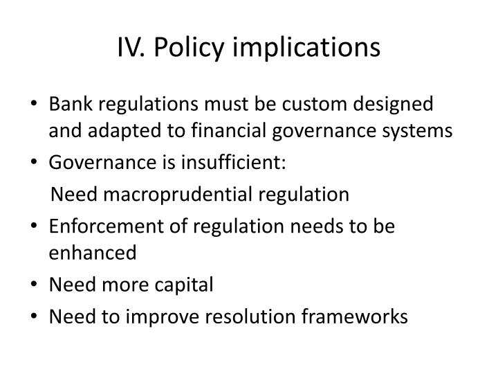 IV. Policy implications