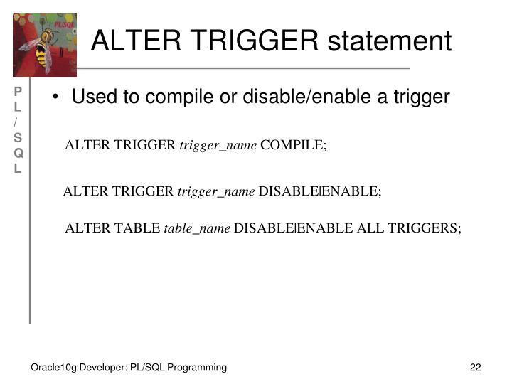 ALTER TRIGGER statement