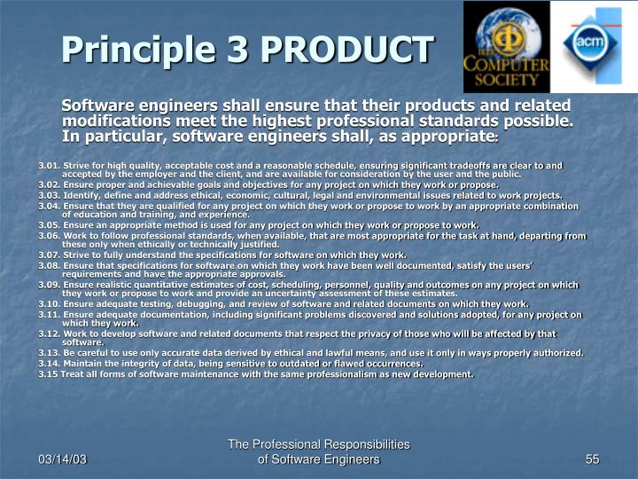 Principle 3 PRODUCT