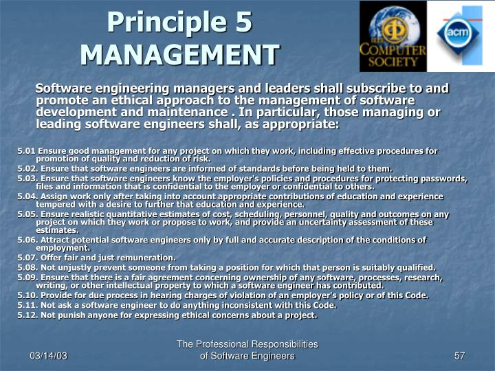 Principle 5 MANAGEMENT