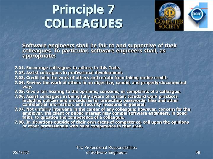 Principle 7 COLLEAGUES