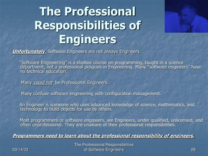 The Professional Responsibilities of Engineers