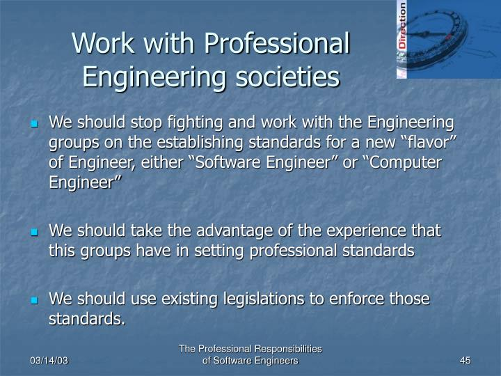 Work with Professional Engineering societies
