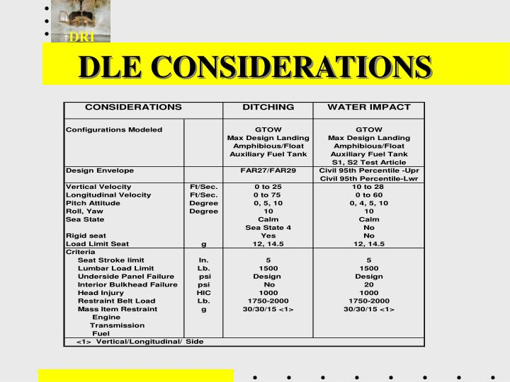 DLE CONSIDERATIONS