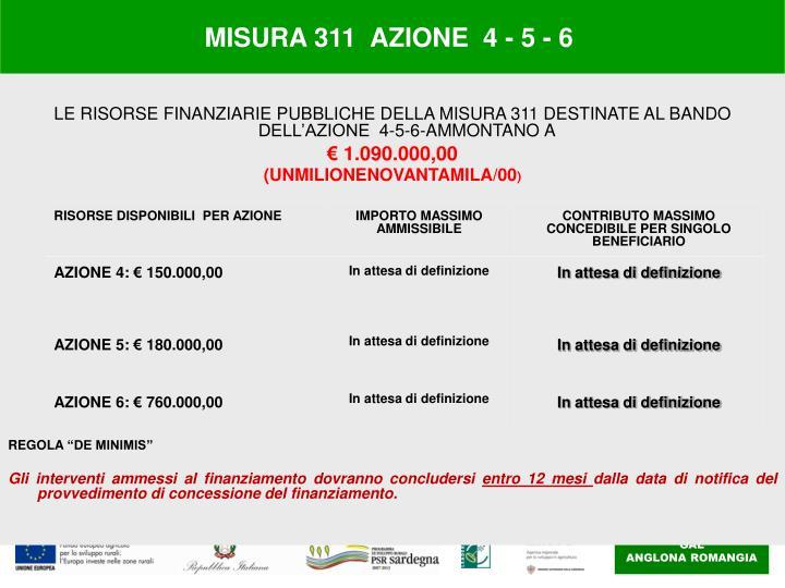 MISURA 311  AZIONE  4 - 5 - 6