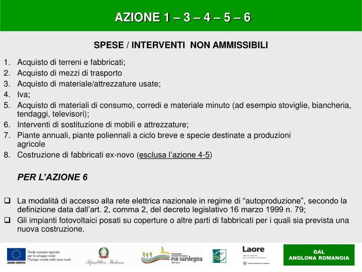 AZIONE 1 – 3 – 4 – 5 – 6