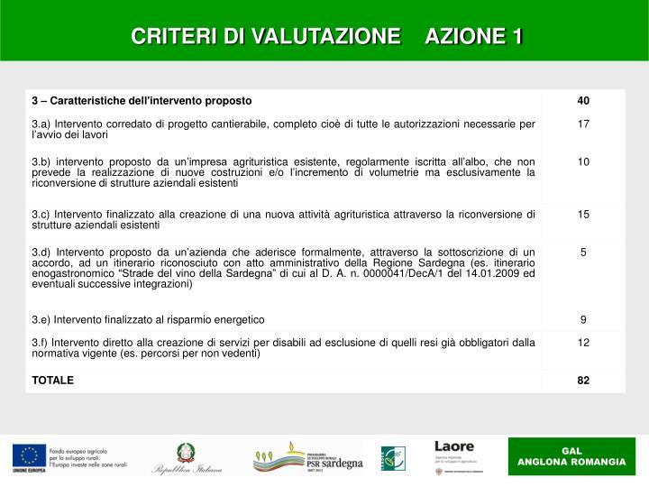 CRITERI DI VALUTAZIONE    AZIONE 1