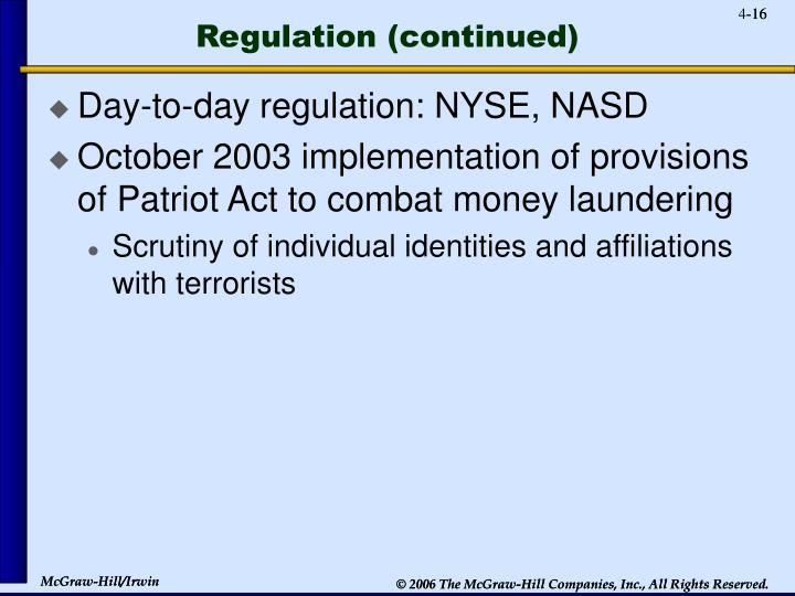 Regulation (continued)