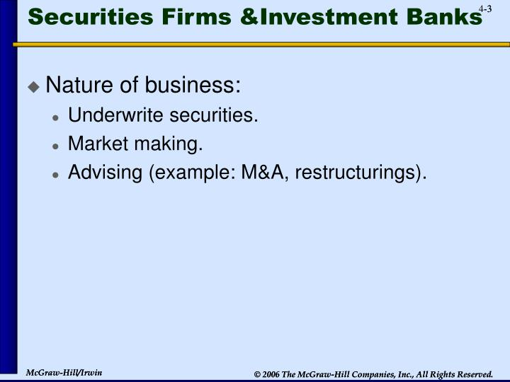 Securities firms investment banks
