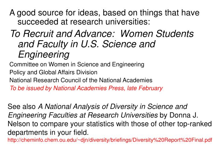 A good source for ideas, based on things that have succeeded at research universities: