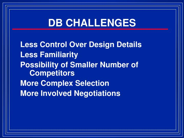 DB CHALLENGES
