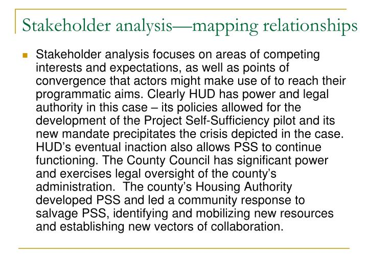 Stakeholder analysis—mapping relationships