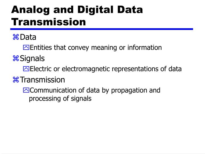 Analog and Digital Data Transmission