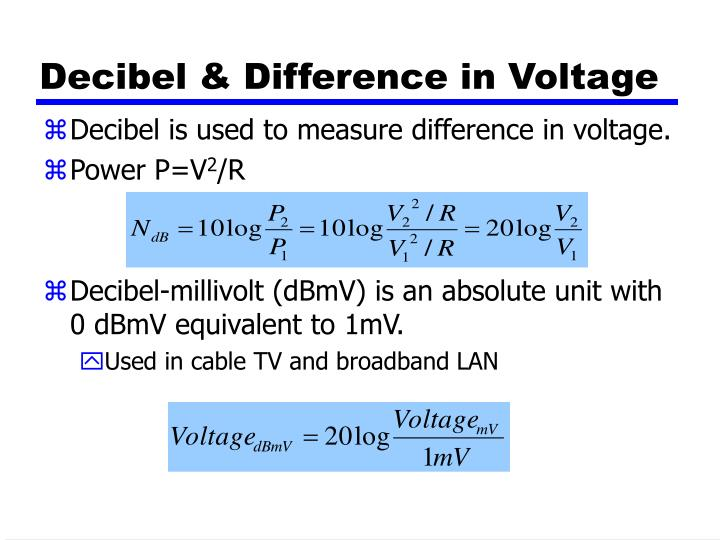 Decibel & Difference in Voltage