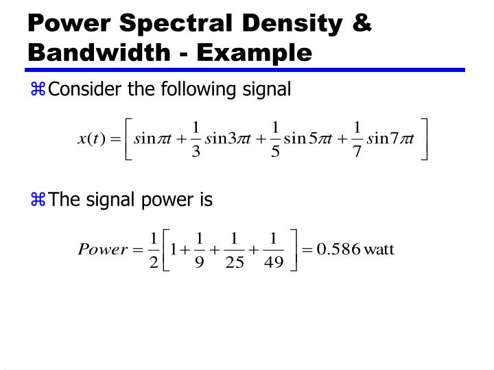 Power Spectral Density & Bandwidth - Example