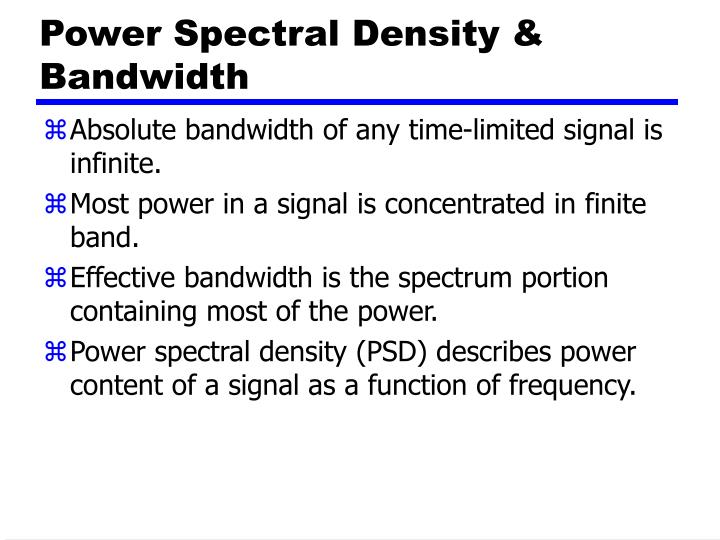 Power Spectral Density & Bandwidth