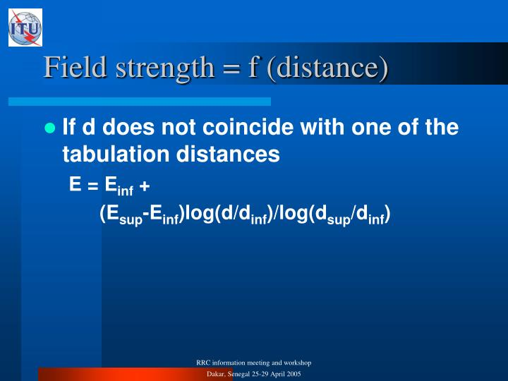 Field strength = f (distance)