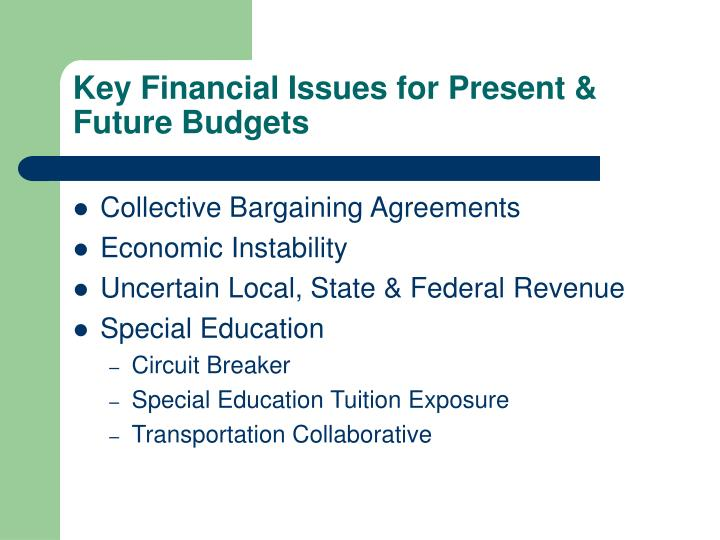 Key Financial Issues for Present & Future Budgets