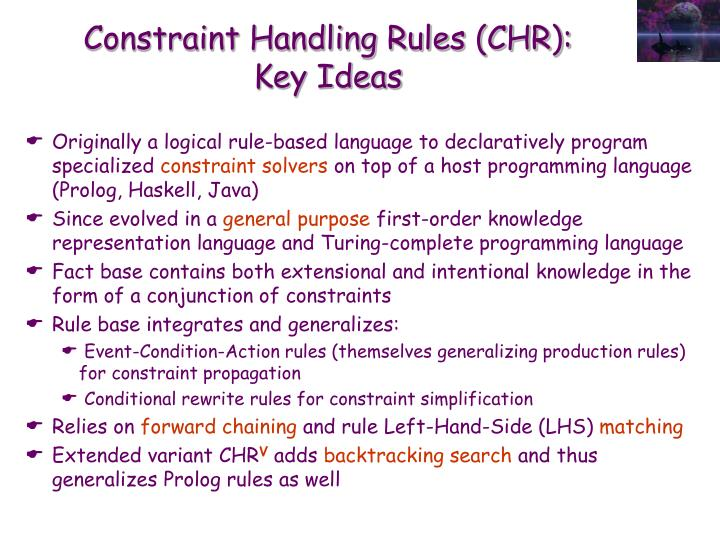 Constraint handling rules chr key ideas