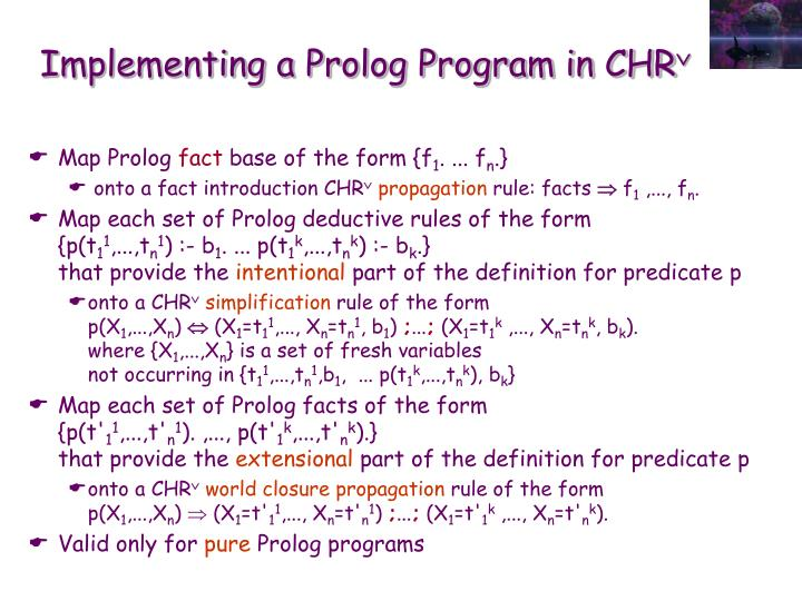 Implementing a Prolog Program in CHR