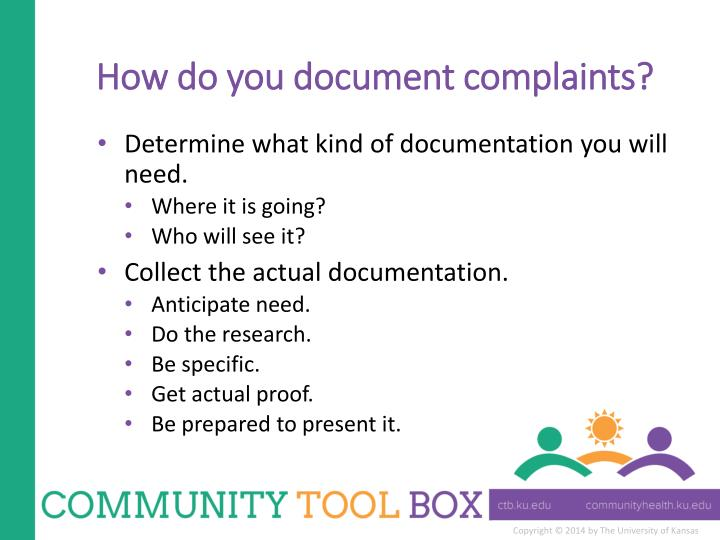How do you document complaints?