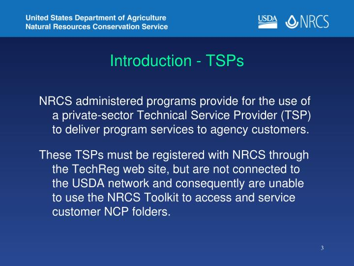 Introduction - TSPs