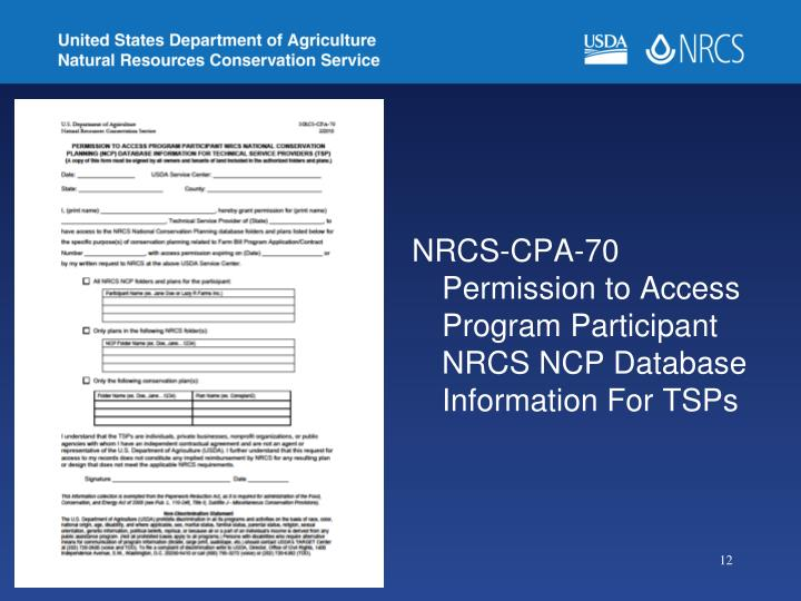 NRCS-CPA-70 Permission to Access Program Participant NRCS NCP Database Information For TSPs