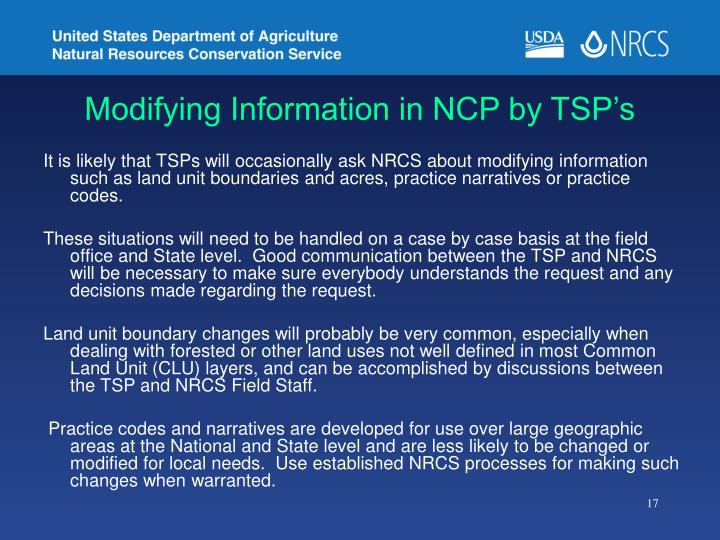 Modifying Information in NCP by TSP's