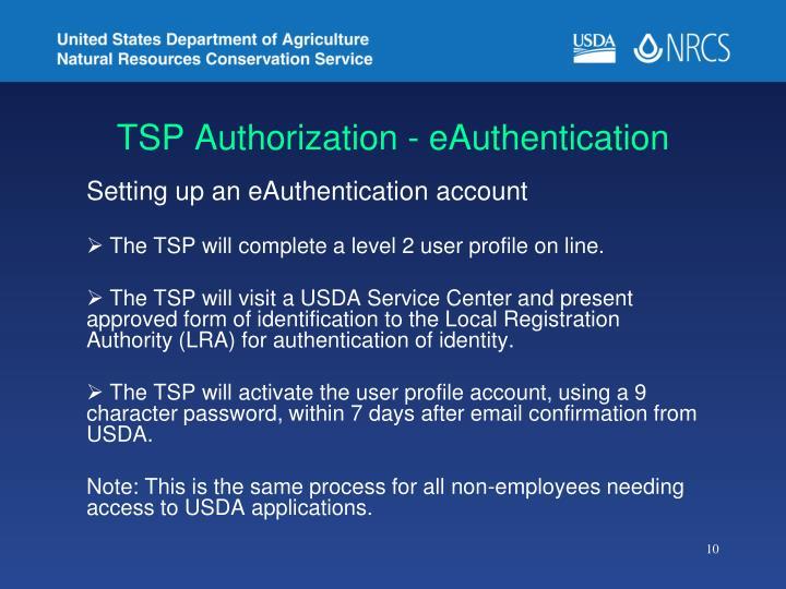 TSP Authorization - eAuthentication