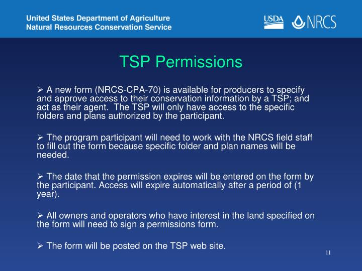 TSP Permissions
